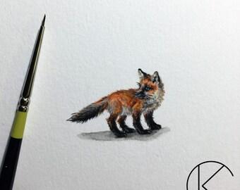 Original Miniature Young Red Fox Painting Multimedia Micro Art