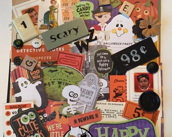 Halloween Scrap Pack / Halloween DIY Inspiration Kit / Halloween MIxed Media Scrap Pack for Collage, Altered ARt