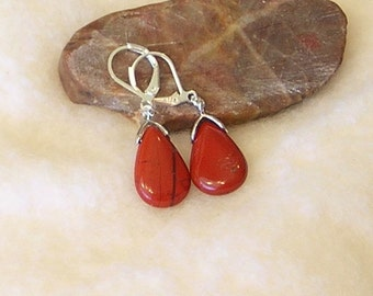 "Petite Red River Jasper semi precious  natural stone teardrop shaped silver 1 3/8"" long dangle lever back earrings"