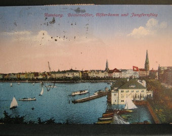 1923 Postcards x 4, Three Postcards from Hamburg, One from Milano - Antique Colour Postcards, Seascapes/Ocean/Ship Theme, 1923 Stamps x 3