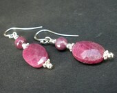 Natural Gemstone Ruby Faceted Puffed Oval and Round Shape, 925 Sterling Silver Dangle Earrings, Ruby Dange Earrings