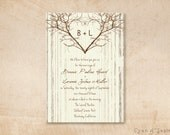 Printable Wedding Invitation - 5x7 - Branch Heart - Tree Wood Love Rustic Nature Woodland Twigs Vintage DIY - Brown Tan Sepia Ivory Cream