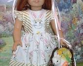 Golden Bunnies Easter Dress Headpiece and Bunny Basket for American Girl Dolls