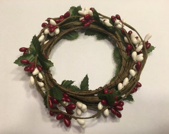 red and white candle ring, 4 inch (BR14)