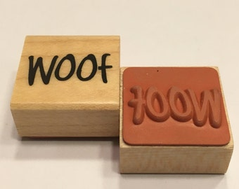 """small """" woof"""" rubber stamp, 20 mm (BB4/1)"""
