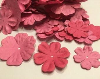 10 piece assorted pink tone flower scrapbooking embellishments, 35-55 mm (AA3)