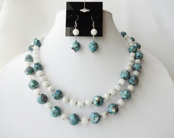 Free Shipping - Adjustable Length Blue Mother-Of-Pearl and Quartzite Double Strand Necklace And Earring Set
