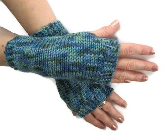Knit Fingerless Gloves Unisex Blues and Greens