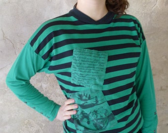 90s Grunge Gitano Shirt, Green and Black Striped Size Small Graphic Print Long Sleeved Hipster Top
