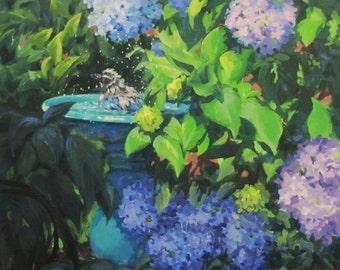 Birdbath and Blossoms