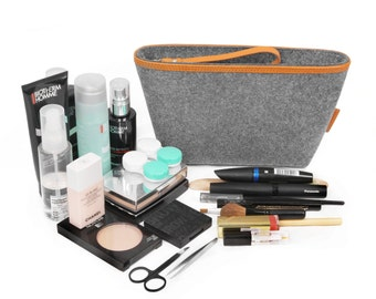 Storage Bag Grasping Bag Clutch Handbag Wool Felt Makeup Organizers Tote Small Handbag Travelling Bag Leather Felt Bag M--Tophome