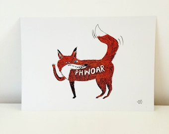 Phwoar- A4 foxy fox print