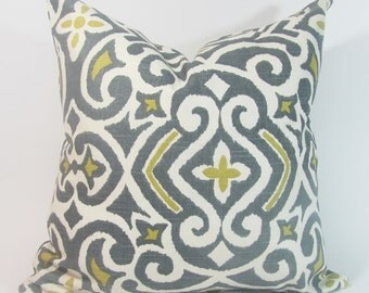 "Grey Pillow Cover- Grey/Yellow  Damask Pillow Cover- Yellow Pillow Cover-Greyston Pillow 16"",17"",18"",20"" 24"" 26"", Lumbar Pillow or Euro Sham"