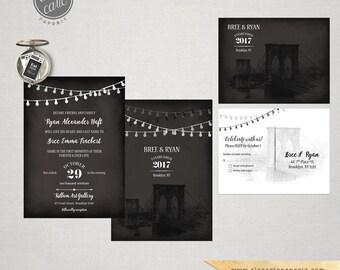 Brooklyn Bridge Chalkboard Inspired Wedding Invitation Card and RSVP - String Light  - New York manhattan Wedding