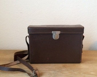 Vintage Leather Polaroid Camera Case, with Long Should Strap