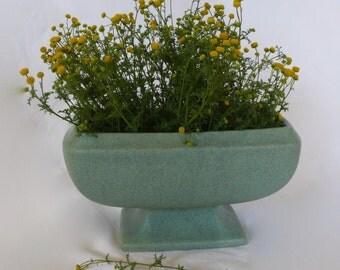 Vintage Floraline Vase McCoy Mid Century Modern Green  Pottery Pedestal Footed Vase Bowl Mid-Century