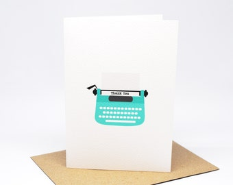 Thank You Card - Turquoise Typewriter - THY028 / Card Thank You