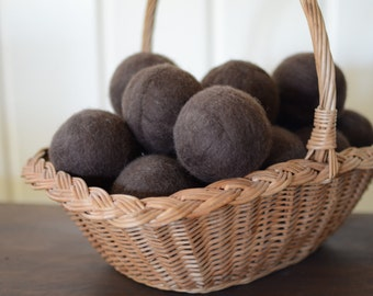 Brunette Brown Wool Dryer Balls Extra Large - Uncented or Scented w/ Essential Oils for Free (30+ Scent Choices) Individual or Sold in Sets