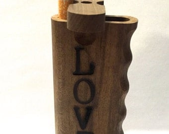 "Handmade Rusitc Love Design on Oak Wood 4""  Dugout with One Hitter Bat"