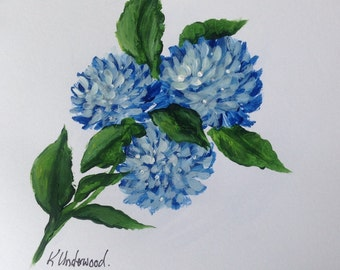 Hand Painted Blue Hydrangea  Greeting Card