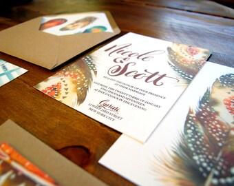 feather watercolor Invitation w/ custom calligraphy