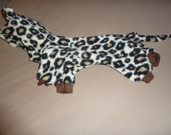 Small, Medium, Large Fleece Doggy Pajama, Doggy Pajama Costume, Doggy Leopard PJ, Halloween Pajama, Leopard Doggy Costume, Doggy Onesie