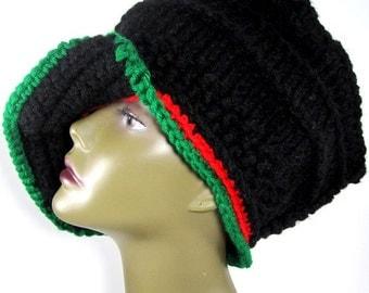 Red Black Green Loc Dreadlock Cap Hat