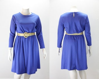 XXL Vintage Dress - Long Sleeved Royal Blue