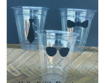 24 Mustache Party Cups WITH LIDS, Clear Party Cups, Mustache Bash, Little Man Party, Mustache Cups, Bowtie Cups, Bowtie Party