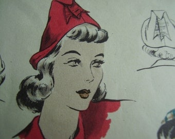 Vintage 1940's Vogue 9837 Hat and Bag Sewing Pattern, One Size