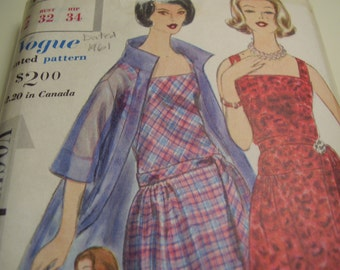 Vintage 1960's Vogue 4234 Special Design Dress and Coat Sewing Pattern, Size 12, Bust 32