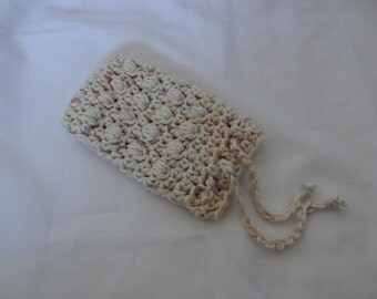 Crochet Soap Saver, Soap Sack, Massaging Soap Saver, Crochet Soap Pouch in Beige with Pastel Specks - 100% Cotton - Ready to Ship