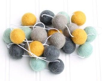 Felt Ball Garland Mint and Mustard, Pom Pom Garland, Mantle Garland, Nursery Decor, Felt Ball Bunting,Baby Shower Decor, Gender Neutral