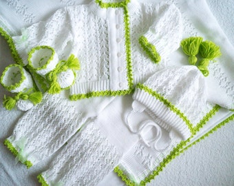 Christening set. Knitted Sweater, Pants, Hat, Booties and blanket with fleece lining Set. White set. Blanket set.