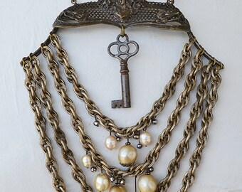 Early 1900s Art Nouveau Silver Goddess Purse Harp Art Deco Fur Clips Faux Pearl Necklace