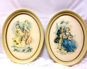 Pair of Edwardian Prints in Oval Frames