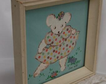 Vintage Framed Nursery Print. Teal. Polka dot. Teddy Bear. Vintage Kitchy signed art