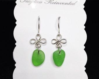 Kelly Green Sea Glass Dangle Earrings - Sterling Silver - Green Sea Glass Jewelry