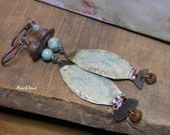 "Earrings vintage- bohemian ""ocean fish"" fish pendant vintage-gemstone- aqua blue green and brown"