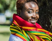 Kente print  red, yellow, green and black reversible crimson red snood