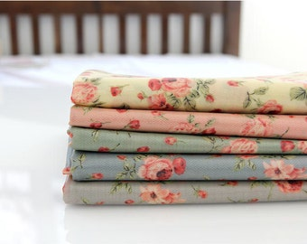 Laminated Flower Cotton Fabric - Yellow, Pink, Mint, Blue or Gray - By the Yard 83605
