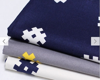 Hashtag Oxford Cotton Fabric - Navy, Gray or White - By the Yard 88688