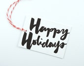 Letterpress Printed Gift Tags - Happy Holidays