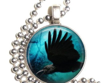 Raven Crow Altered Art Pendant, Black Bird Earrings and Keychain, Round Photo Silver and Resin Charm Jewelry, Earrings, Key Fob
