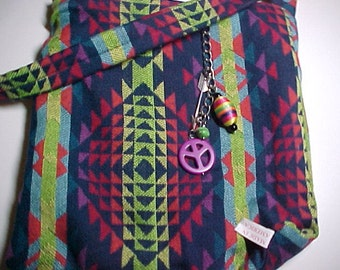 "Crossbody Bag  Reversible Washable  ""NEON AZTEC "" Sling Purse Tribal Boho with Keychain / Bagcharm"
