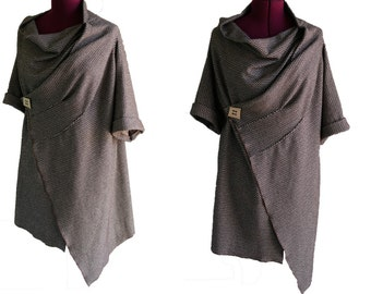 Womens handmade tunic / wrap top / jacket /  Casual / Loose fitting /Kimono style / brown white jersey knit / Layering top