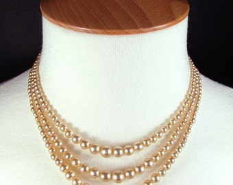 "15"" Vintage Re-Strung Boxed 3 Multi Strand Faux Pearl Necklace With Diamante Clasp"