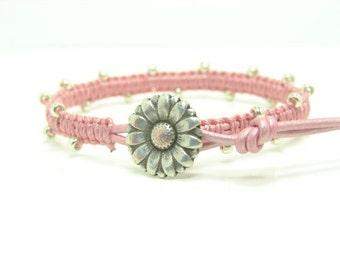 Beaded Leather Wrap Bracelet, Pink Macrame Seed Bead Leather Wrap Bracelet, Single Beaded Macrame Wrap Bracelet, Pink Wrap Bracelet, Boho