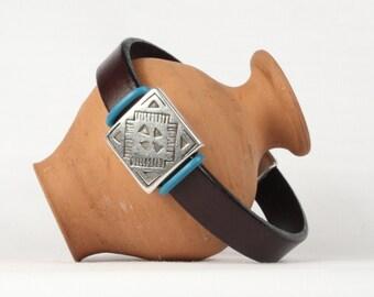 Brown leather bracelet, Western design, Magnetic bracelet, Carol Made L18