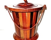 Ice Bucket Wood Marquetry Mid Century Art Canister with Leather Handle & Red Inner Lining